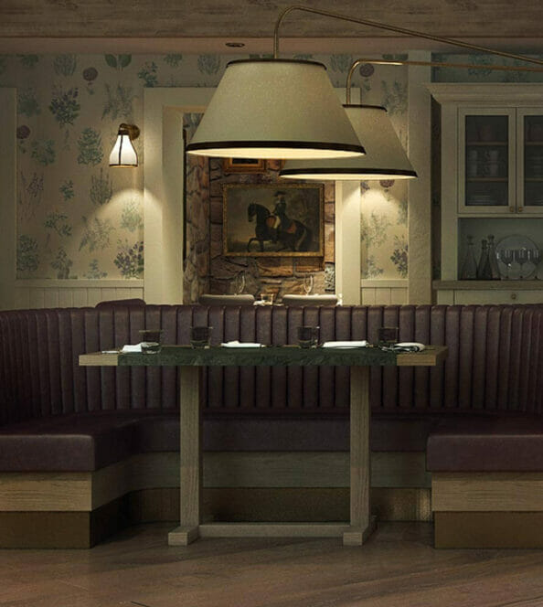 dining room at Greystones' Restaurant with dimly lit booths