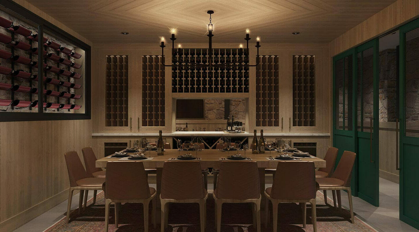 inside the private dining room at Greystone's restaurant, cellar vibe with wooden walls and wine rack